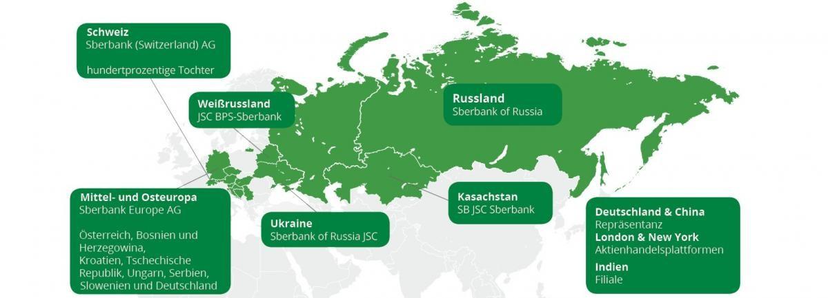 Die Grafik zeigt eine Verteilung der Präsenz der Sberbank weltweit - Russische Aktien