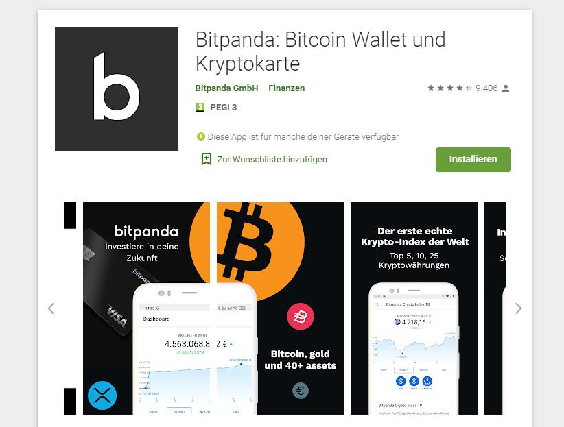 Die Bitpanda App steht zum Download in Google Play zur Verfügung