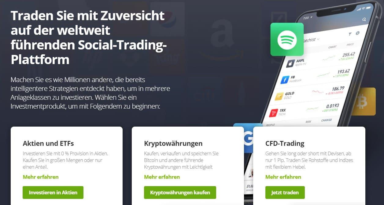 Das Bild zeigt die Hompepage von eToro, wo über Handelsmöglichkeiten auf der weltweit führenden Social Trading Plattform informiert wird