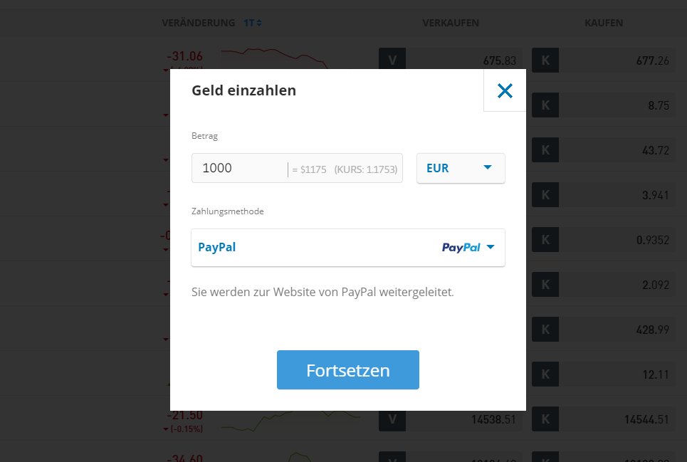 Geld einzahlen bei eToro funktioniert mit PayPal - Krypto Trading Plattformen