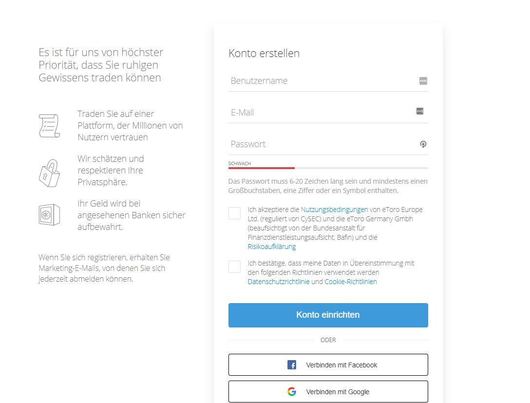 Gezeigt wird ein Online-Formular zur Anmeldung bei eToro - Krypto Trading Plattformen