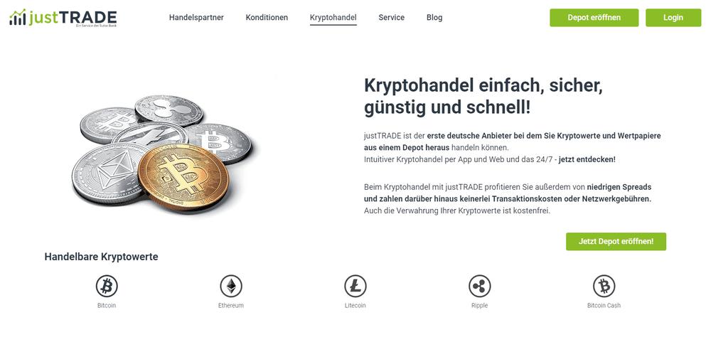 Bei justTRADE können Kunden einfach, sicher, günstig und schnell mit Bitcoin & Ethereum handeln und in Euro umtauschen