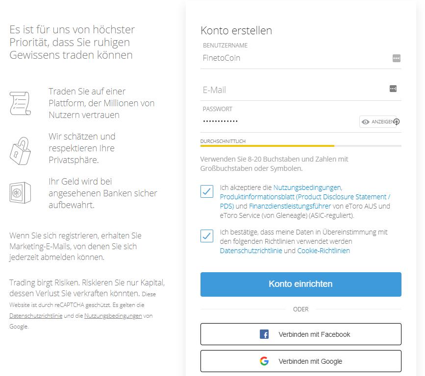 eToro Account erstellen - Kryptowährung kaufen