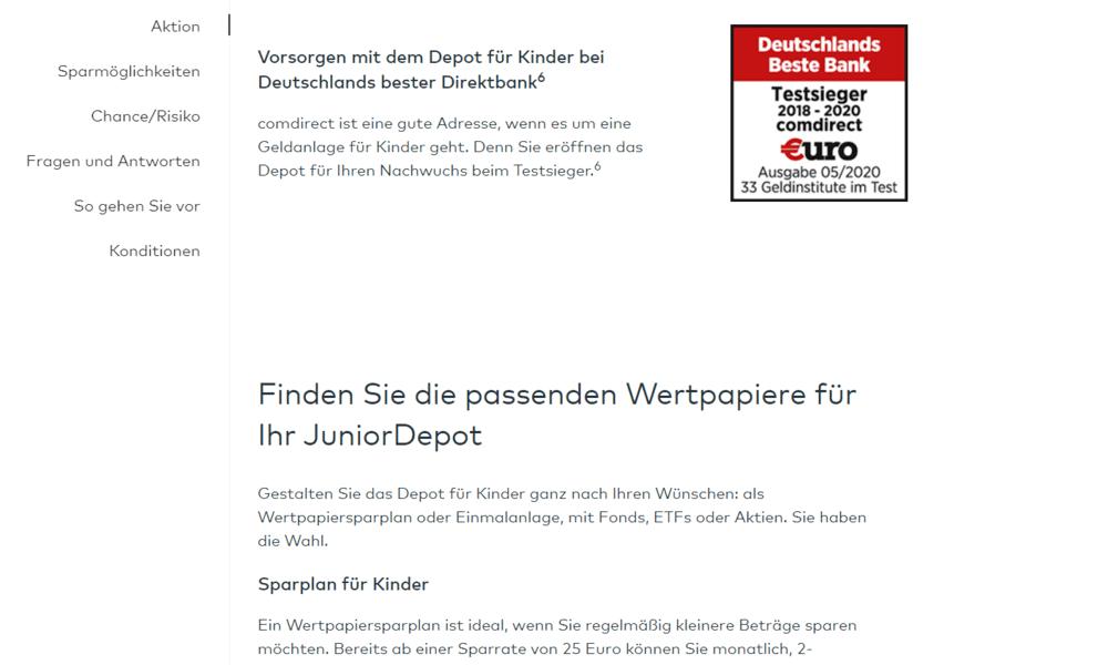 comdirect bank Auszeichnung - Deutschlands beste Bank - etf sparplan kinder