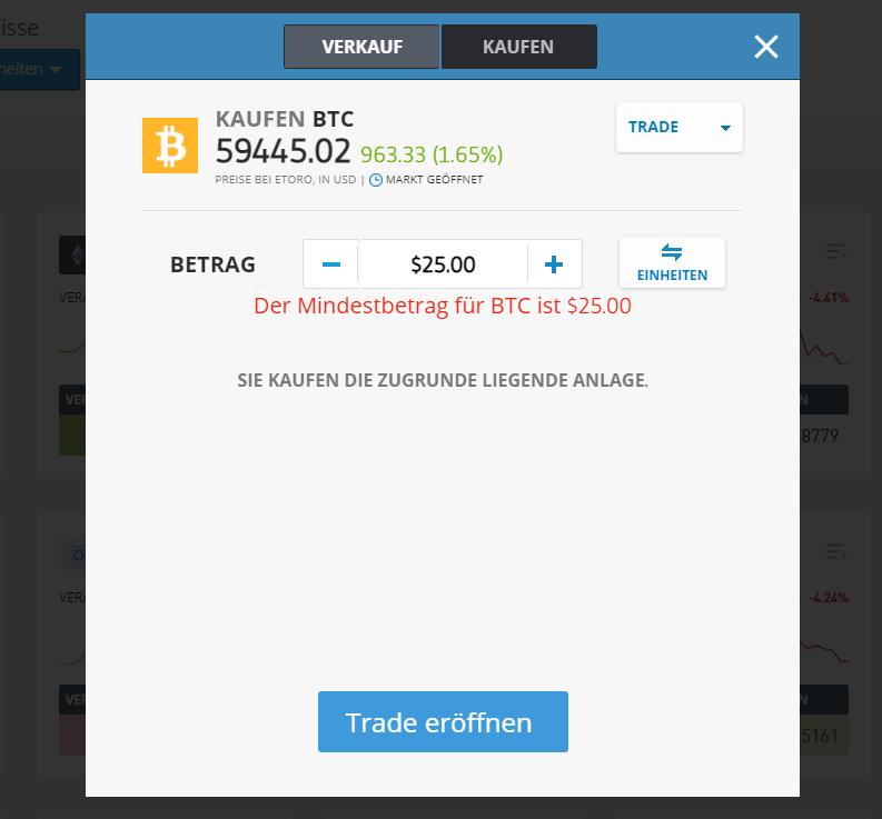 Eine Grafik Trade eröffnen zeigt die Konditionen (Preise bei eToro, Betrag) beim Bitcoin kaufen
