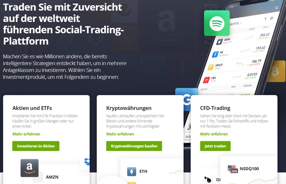 Traden Sie mit Zuversicht auf der Social-Trading-Plattform eToro