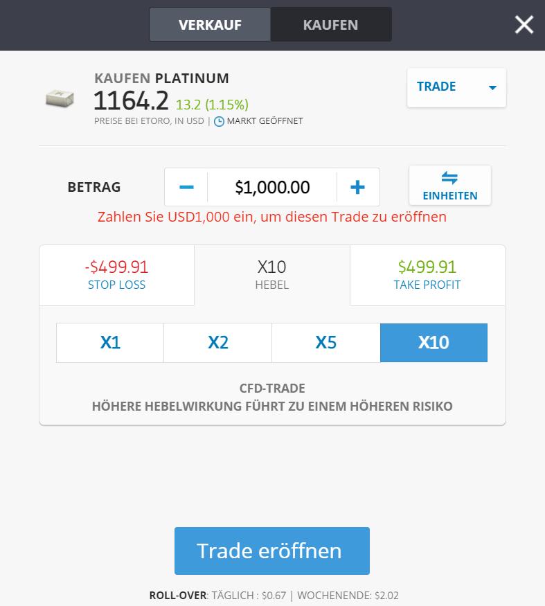 Palladium eToro kaufen Odermaske Screenshot