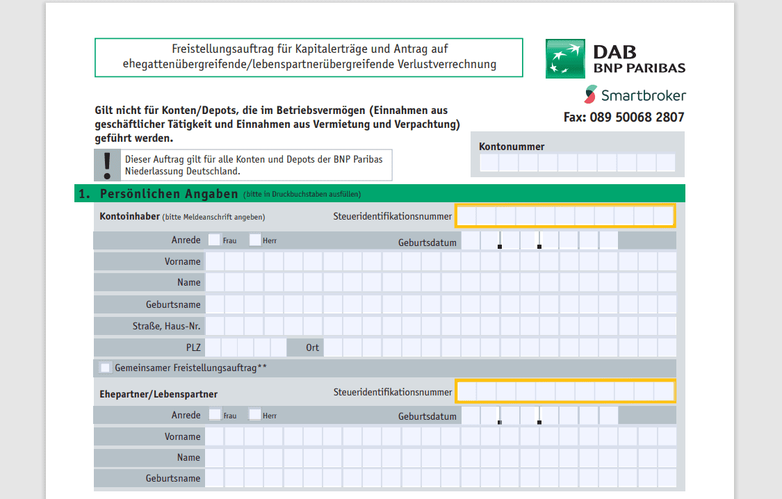 DAB BNP Paribas Freistellungsantrag - Depot eröffnen