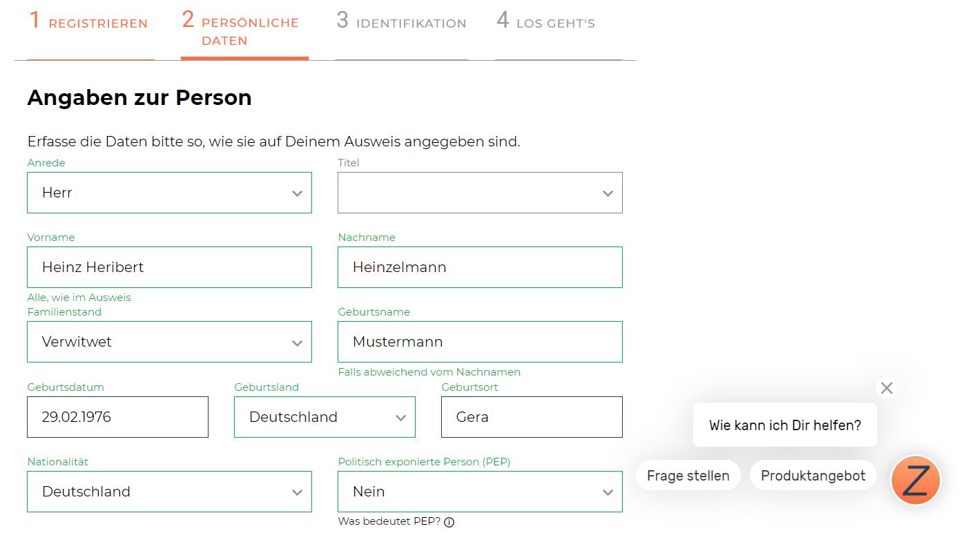 finanzen.net zero Angaben zur Person - Depot eröffnen