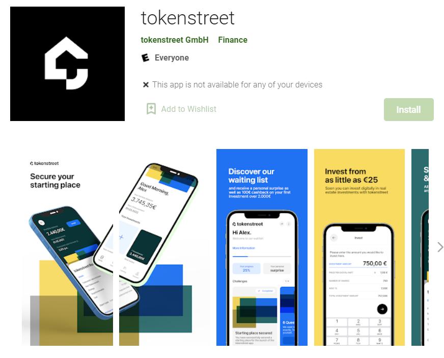 Screenshot tokenstreet App in Google Play